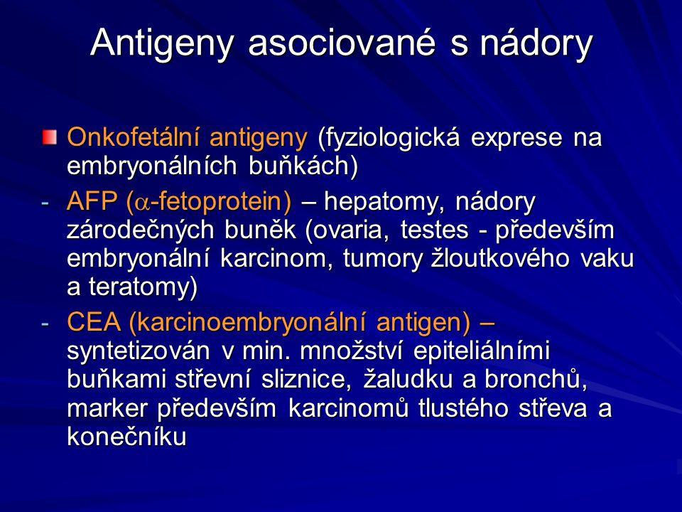 Antigeny asociované s nádory Onkofetální antigeny (fyziologická exprese na embryonálních buňkách) - AFP (  -fetoprotein) – hepatomy, nádory zárodečný