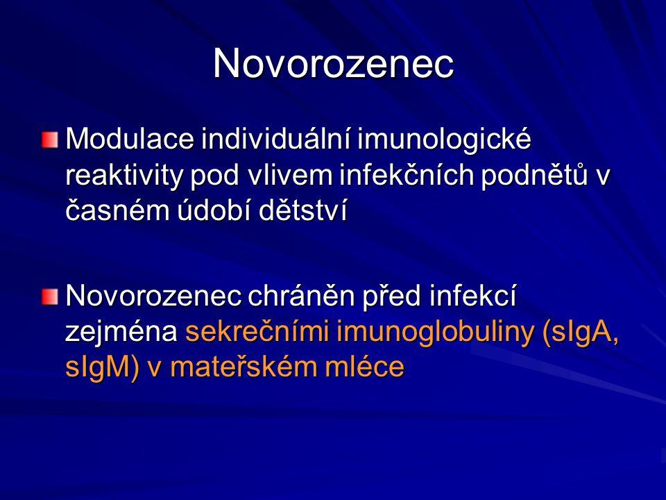 Novorozenec Modulace individuální imunologické reaktivity pod vlivem infekčních podnětů v časném údobí dětství Novorozenec chráněn před infekcí zejmén