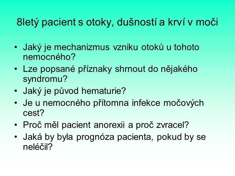 8letý pacient s otoky, dušností a krví v moči Jaký je mechanizmus vzniku otoků u tohoto nemocného? Lze popsané příznaky shrnout do nějakého syndromu?