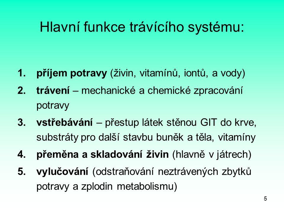 5 Hlavní funkce trávícího systému: 1.příjem potravy (živin, vitamínů, iontů, a vody) 2.trávení – mechanické a chemické zpracování potravy 3.vstřebáván