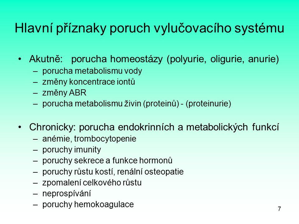 7 Hlavní příznaky poruch vylučovacího systému Akutně: porucha homeostázy (polyurie, oligurie, anurie) –porucha metabolismu vody –změny koncentrace ion
