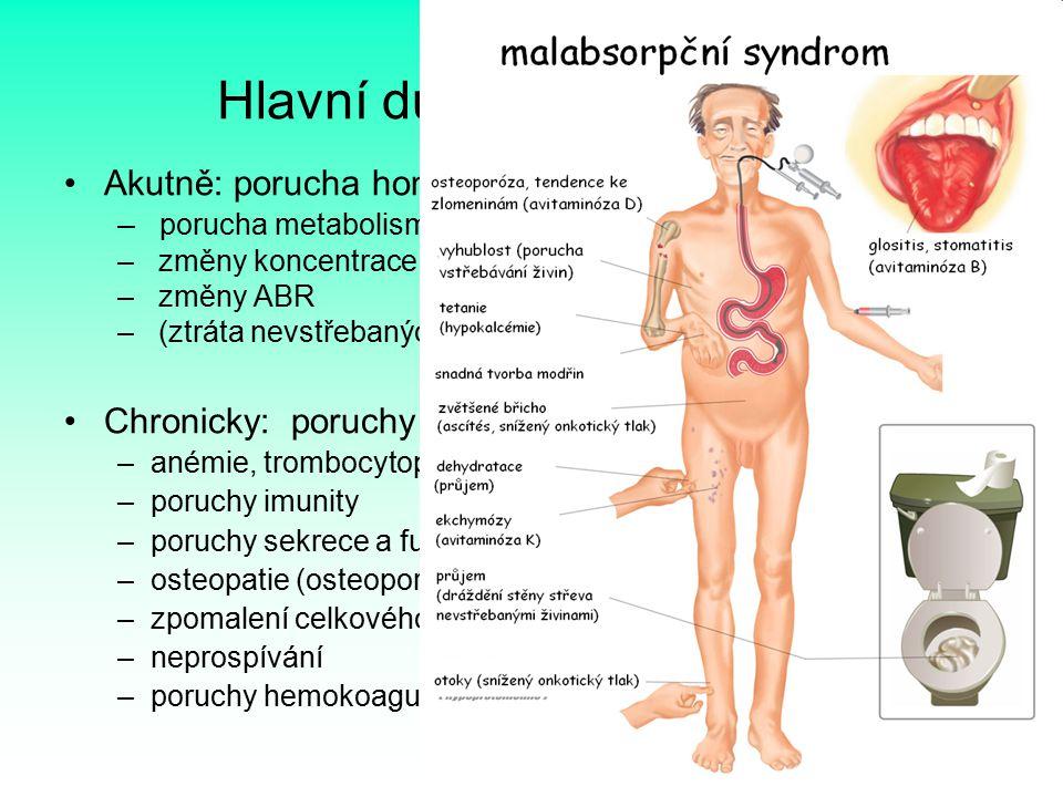 8 Hlavní důsledky poruch GIT Akutně: porucha homeostázy (zvracení a průjem) – porucha metabolismu vody – změny koncentrace iontů – změny ABR – (ztráta