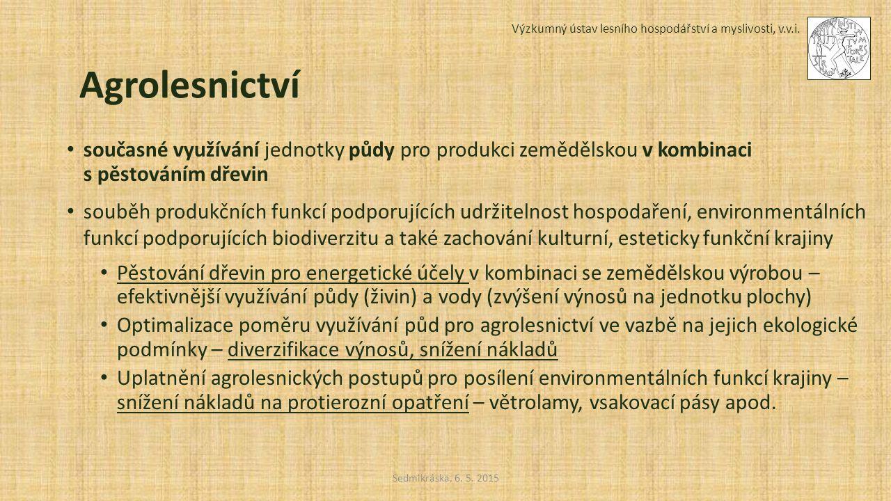 Sedmikráska, 6. 5. 2015 Výzkumný ústav lesního hospodářství a myslivosti, v.v.i. Agrolesnictví současné využívání jednotky půdy pro produkci zemědělsk
