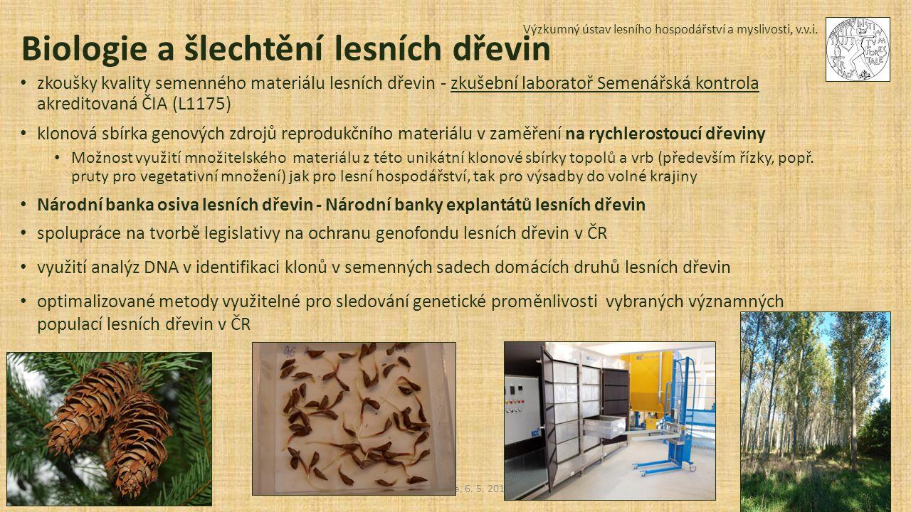 Výzkumný ústav lesního hospodářství a myslivosti, v.v.i. Sedmikráska, 6. 5. 2015 Biologie a šlechtění lesních dřevin zkoušky kvality semenného materiá