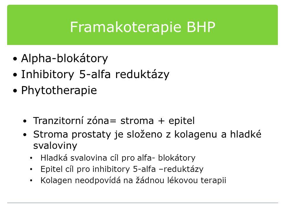 Framakoterapie BHP Alpha-blokátory Inhibitory 5-alfa reduktázy Phytotherapie Tranzitorní zóna= stroma + epitel Stroma prostaty je složeno z kolagenu a
