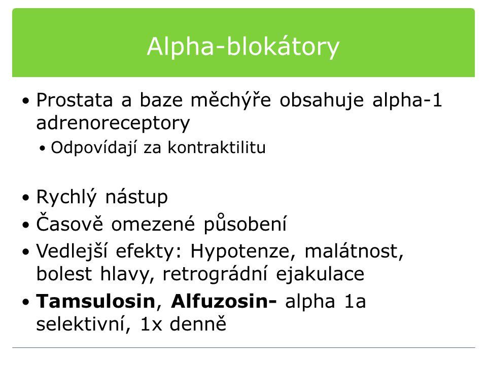Alpha-blokátory Prostata a baze měchýře obsahuje alpha-1 adrenoreceptory Odpovídají za kontraktilitu Rychlý nástup Časově omezené působení Vedlejší ef