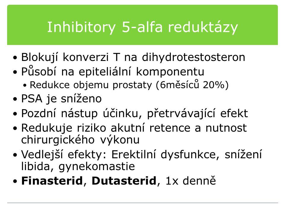 Inhibitory 5-alfa reduktázy Blokují konverzi T na dihydrotestosteron Působí na epiteliální komponentu Redukce objemu prostaty (6měsíců 20%) PSA je sní