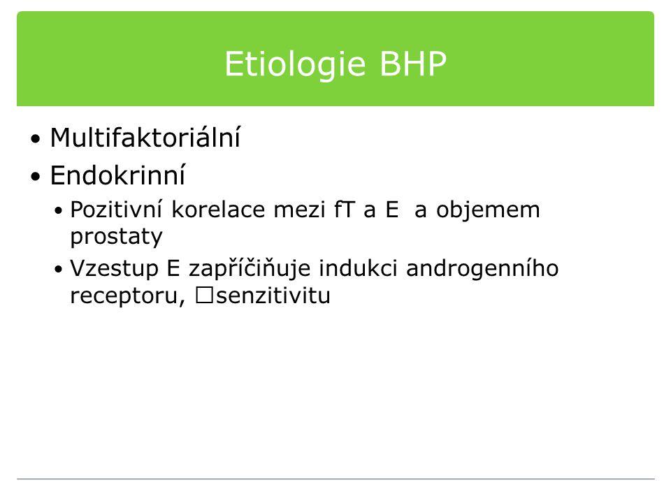 Etiologie BHP Multifaktoriální Endokrinní Pozitivní korelace mezi fT a E a objemem prostaty Vzestup E zapříčiňuje indukci androgenního receptoru, senz
