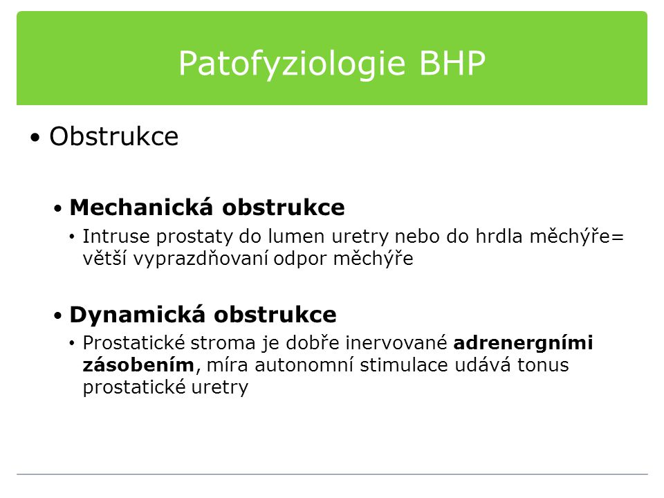 Patofyziologie BHP Obstrukce Mechanická obstrukce Intruse prostaty do lumen uretry nebo do hrdla měchýře= větší vyprazdňovaní odpor měchýře Dynamická