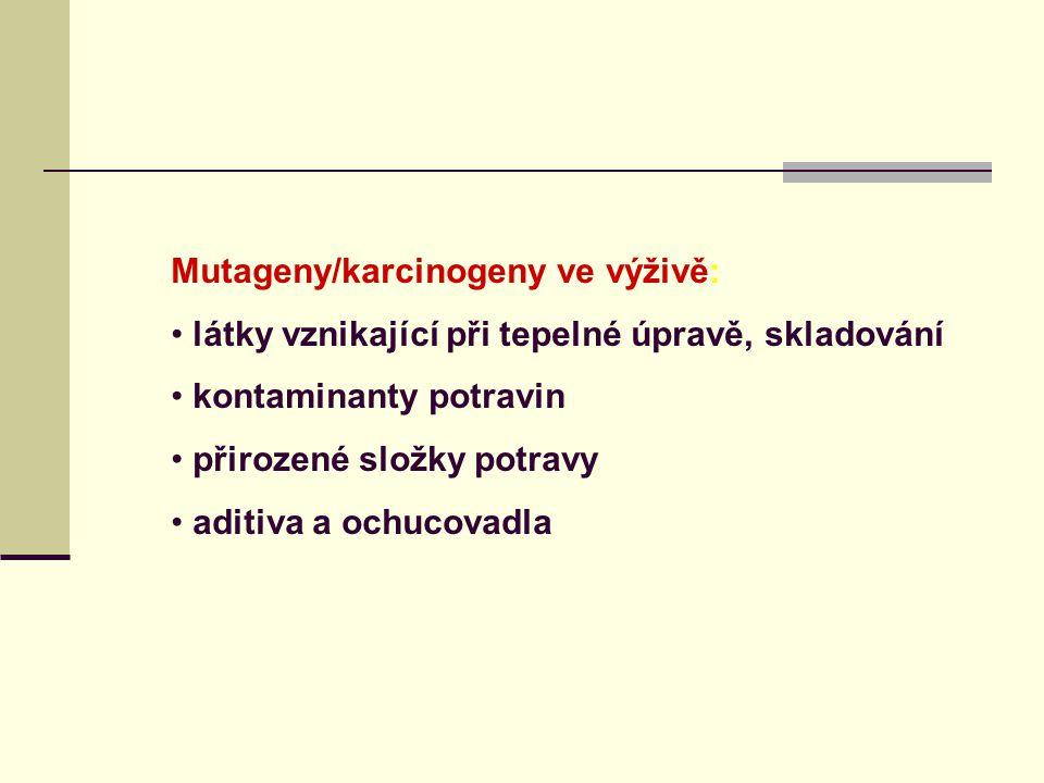Mutageny/karcinogeny ve výživě: látky vznikající při tepelné úpravě, skladování kontaminanty potravin přirozené složky potravy aditiva a ochucovadla