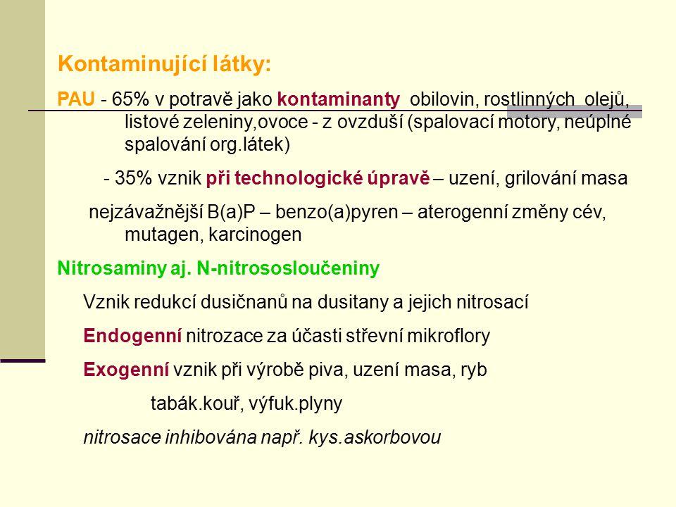 Kontaminující látky: PAU - 65% v potravě jako kontaminanty obilovin, rostlinných olejů, listové zeleniny,ovoce - z ovzduší (spalovací motory, neúplné