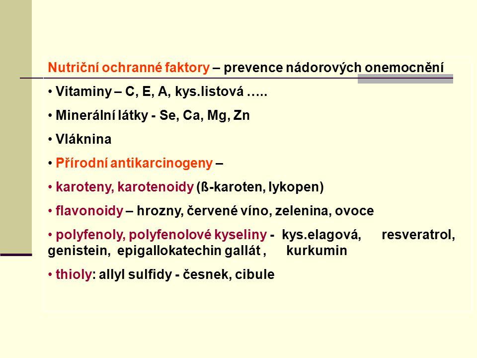 Nutriční ochranné faktory – prevence nádorových onemocnění Vitaminy – C, E, A, kys.listová ….. Minerální látky - Se, Ca, Mg, Zn Vláknina Přírodní anti