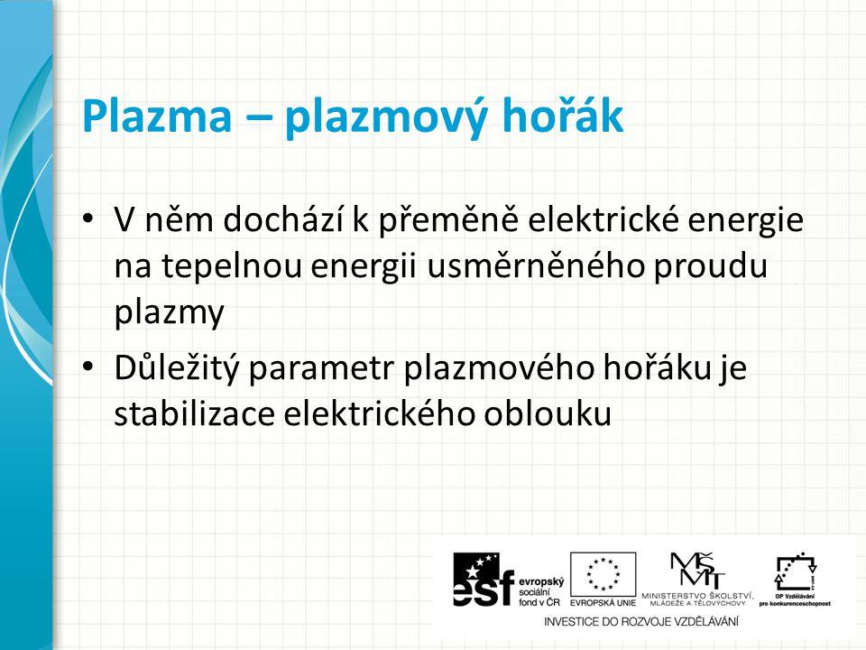 Plazmové hořáky s plynovou stabilizací Plazmové hořáky s vodní stabilizací Plazma – stabilizační médium