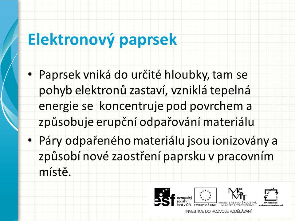 Elektronový paprsek - princip 1 – elektronový paprsek 2 – páry odpařeného kovu
