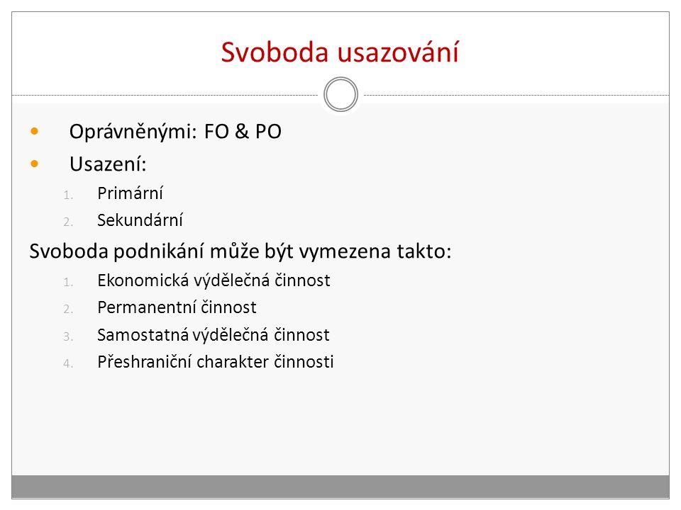 Svoboda usazování Oprávněnými: FO & PO Usazení: 1.