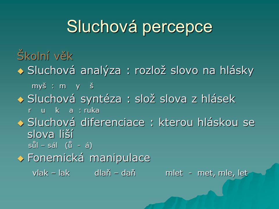 Sluchová percepce Školní věk  Sluchová analýza : rozlož slovo na hlásky myš : m y š myš : m y š  Sluchová syntéza : slož slova z hlásek r u k a : ru