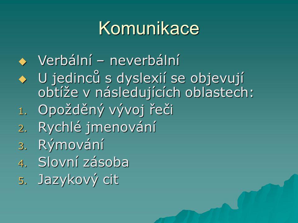 Komunikace  Verbální – neverbální  U jedinců s dyslexií se objevují obtíže v následujících oblastech: 1. Opožděný vývoj řeči 2. Rychlé jmenování 3.