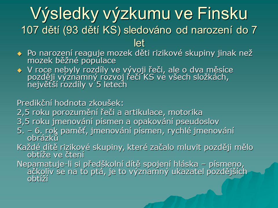Výsledky výzkumu ve Finsku 107 dětí (93 dětí KS) sledováno od narození do 7 let  Po narození reaguje mozek děti rizikové skupiny jinak než mozek běžn