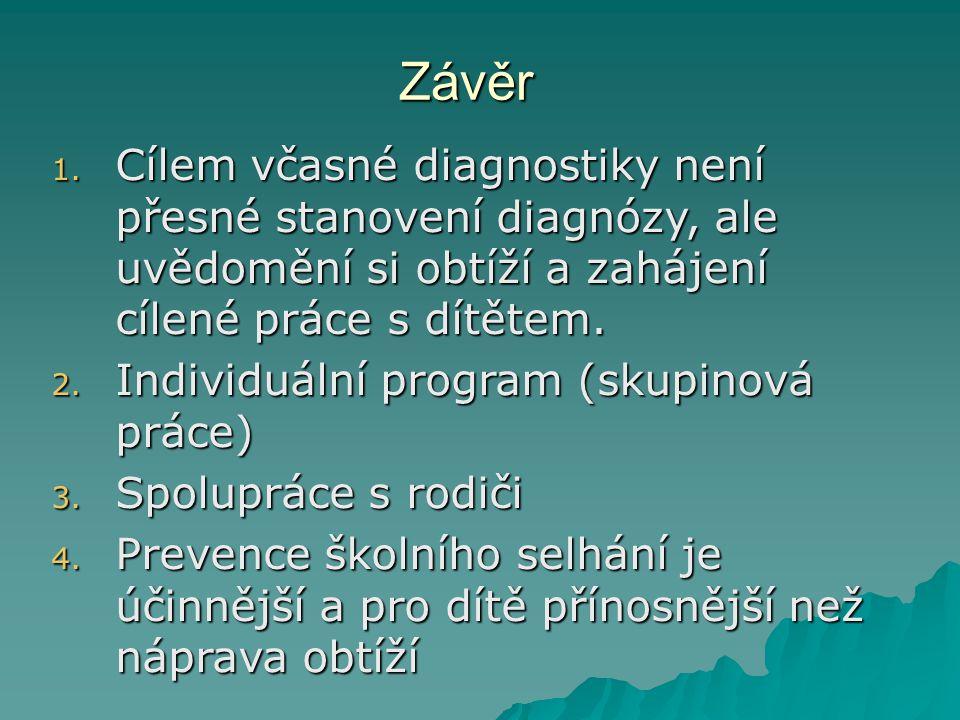 Závěr 1. Cílem včasné diagnostiky není přesné stanovení diagnózy, ale uvědomění si obtíží a zahájení cílené práce s dítětem. 2. Individuální program (