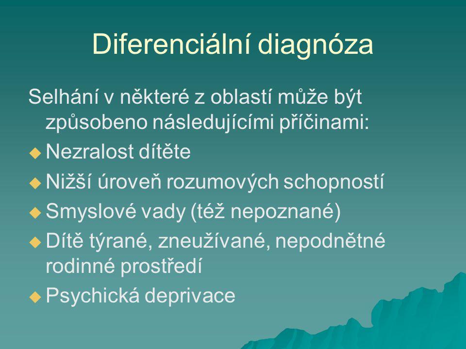 Diferenciální diagnóza Selhání v některé z oblastí může být způsobeno následujícími příčinami:   Nezralost dítěte   Nižší úroveň rozumových schopn