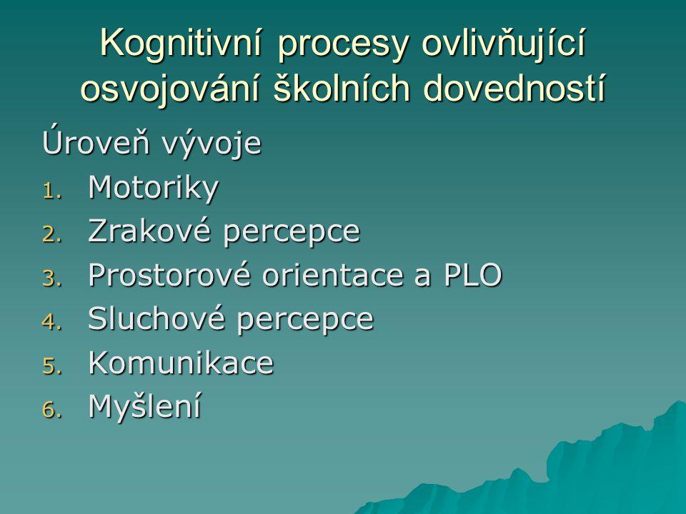 Kognitivní procesy ovlivňující osvojování školních dovedností Úroveň vývoje 1. Motoriky 2. Zrakové percepce 3. Prostorové orientace a PLO 4. Sluchové
