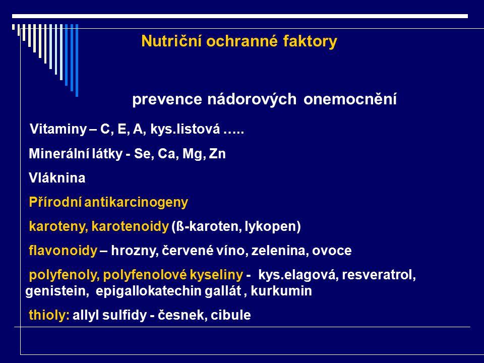 Nutriční ochranné faktory prevence nádorových onemocnění Vitaminy – C, E, A, kys.listová ….. Minerální látky - Se, Ca, Mg, Zn Vláknina Přírodní antika