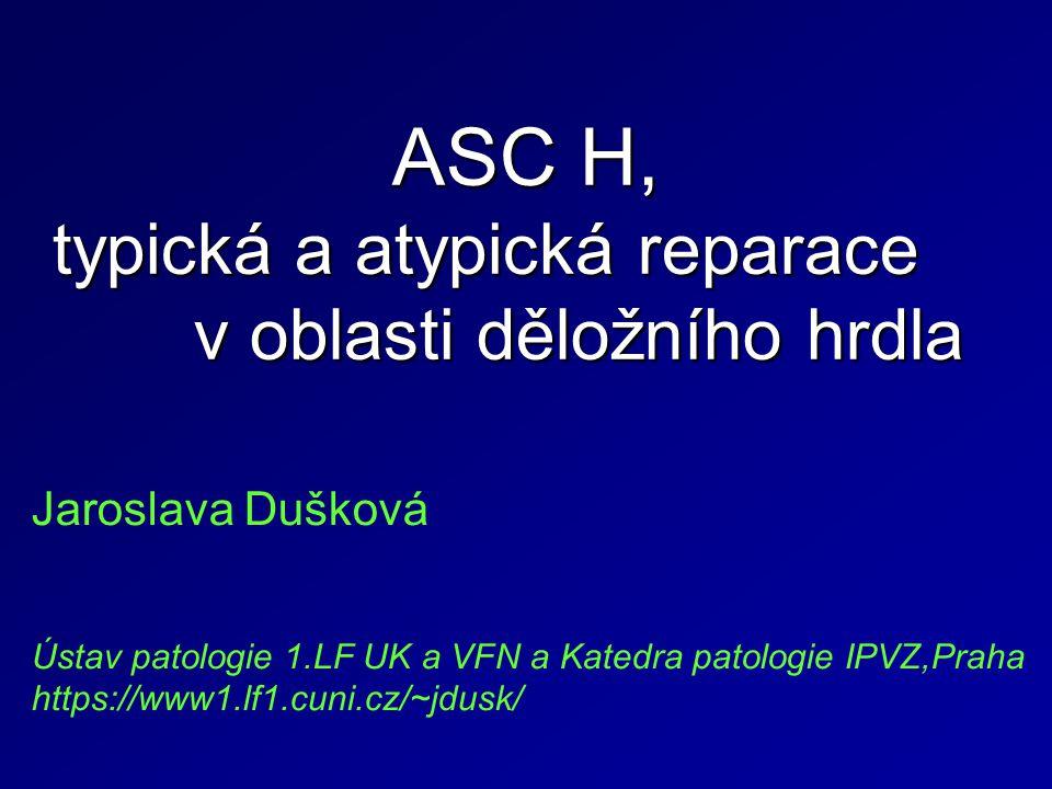 ASC H, typická a atypická reparace v oblasti děložního hrdla Jaroslava Dušková Ústav patologie 1.LF UK a VFN a Katedra patologie IPVZ,Praha https://www1.lf1.cuni.cz/~jdusk/