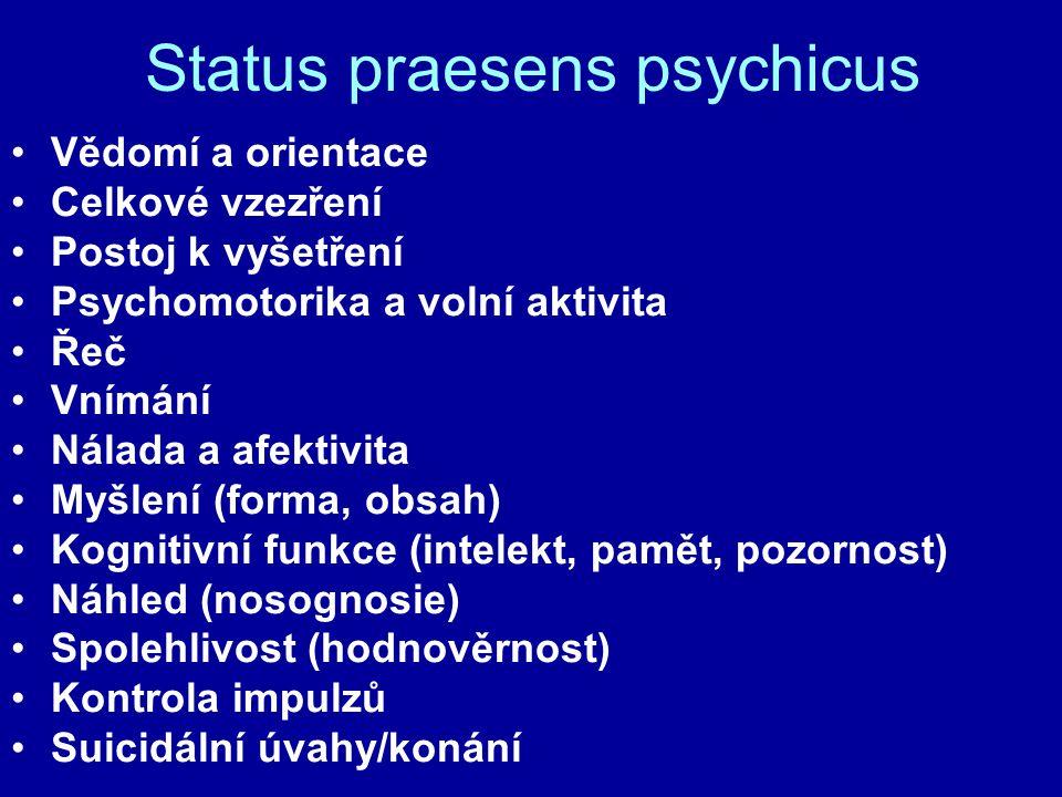 Status praesens psychicus Vědomí a orientace Celkové vzezření Postoj k vyšetření Psychomotorika a volní aktivita Řeč Vnímání Nálada a afektivita Myšle