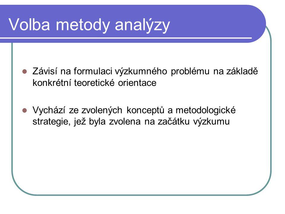 Volba metody analýzy Závisí na formulaci výzkumného problému na základě konkrétní teoretické orientace Vychází ze zvolených konceptů a metodologické s