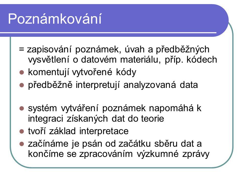 Poznámkování = zapisování poznámek, úvah a předběžných vysvětlení o datovém materiálu, příp. kódech komentují vytvořené kódy předběžně interpretují an