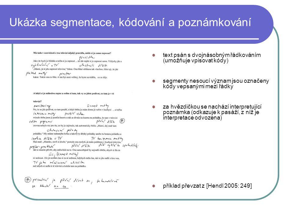 Ukázka segmentace, kódování a poznámkování text psán s dvojnásobným řádkováním (umožňuje vpisovat kódy) segmenty nesoucí význam jsou označeny kódy vep