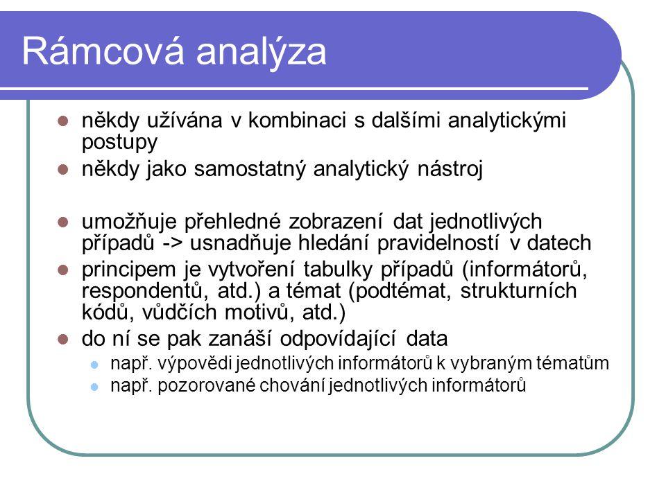 Rámcová analýza někdy užívána v kombinaci s dalšími analytickými postupy někdy jako samostatný analytický nástroj umožňuje přehledné zobrazení dat jed