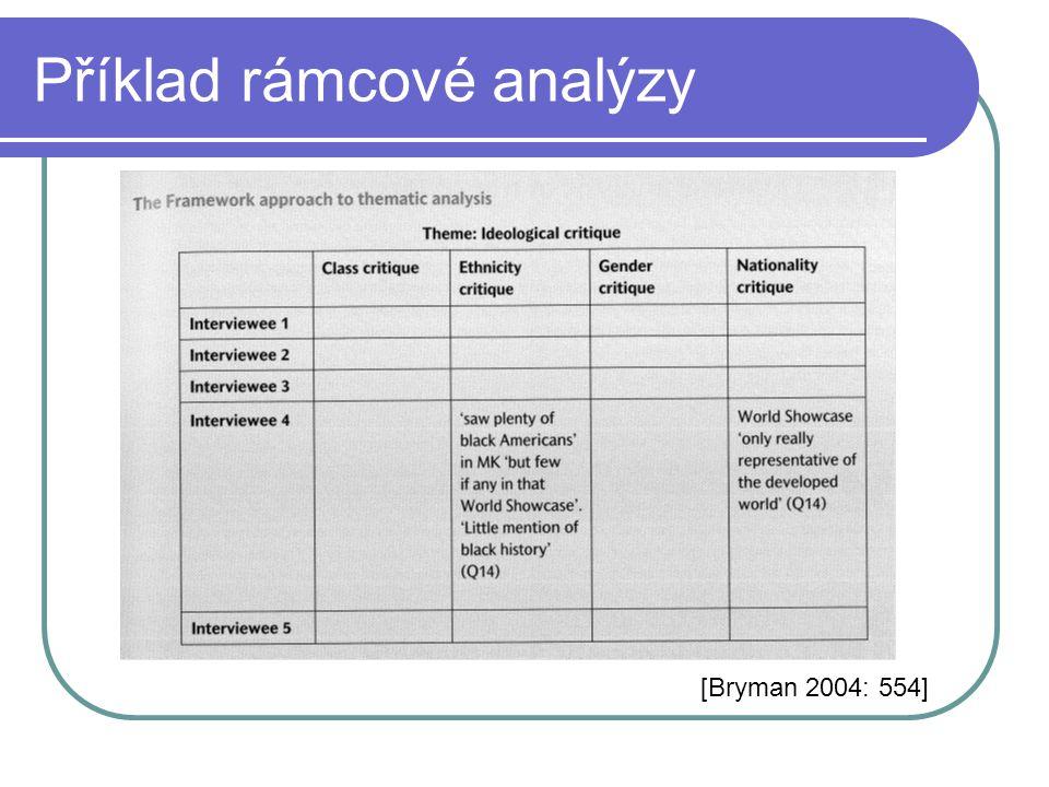 Příklad rámcové analýzy [Bryman 2004: 554]
