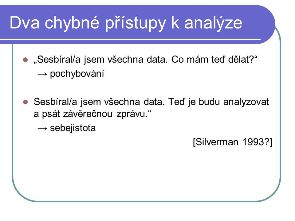 """""""Sesbíral/a jsem všechna data. Co mám teď dělat?"""" → pochybování Sesbíral/a jsem všechna data. Teď je budu analyzovat a psát závěrečnou zprávu."""" → sebe"""