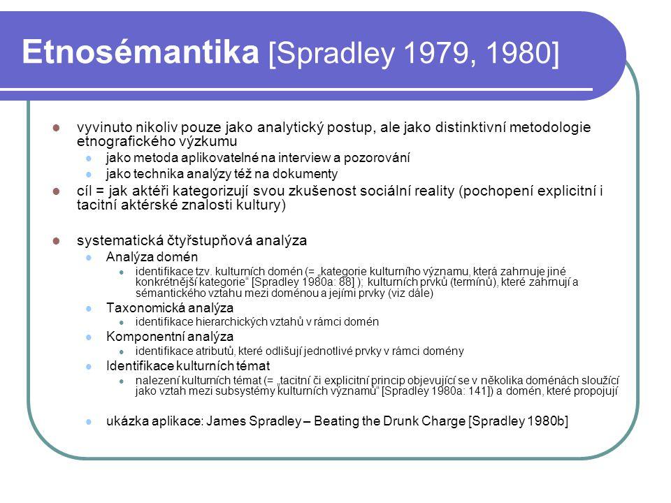 Etnosémantika [Spradley 1979, 1980] vyvinuto nikoliv pouze jako analytický postup, ale jako distinktivní metodologie etnografického výzkumu jako metod