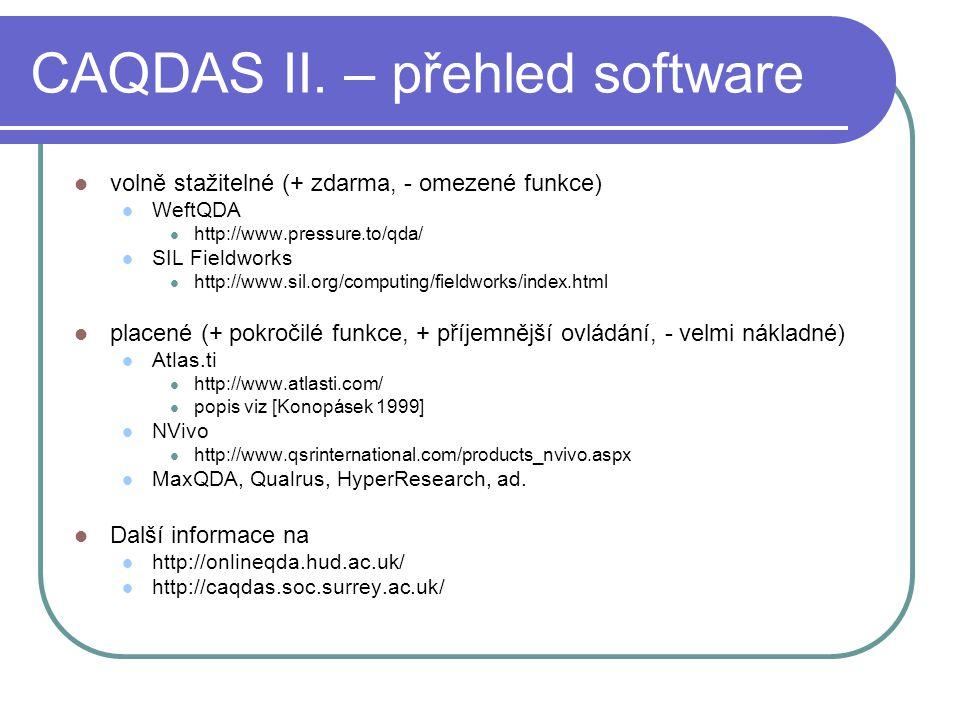 CAQDAS II. – přehled software volně stažitelné (+ zdarma, - omezené funkce) WeftQDA http://www.pressure.to/qda/ SIL Fieldworks http://www.sil.org/comp