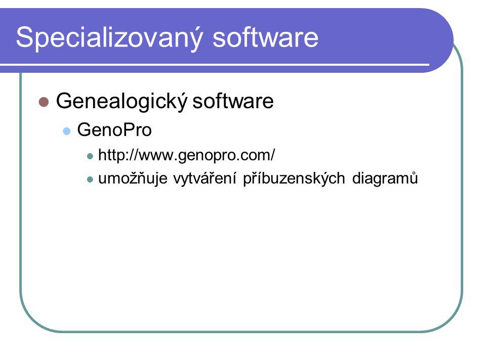 Specializovaný software Genealogický software GenoPro http://www.genopro.com/ umožňuje vytváření příbuzenských diagramů