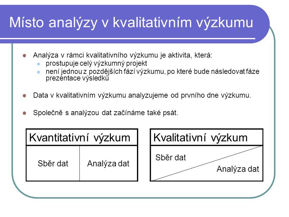 Místo analýzy v kvalitativním výzkumu Analýza v rámci kvalitativního výzkumu je aktivita, která: prostupuje celý výzkumný projekt není jednou z pozděj