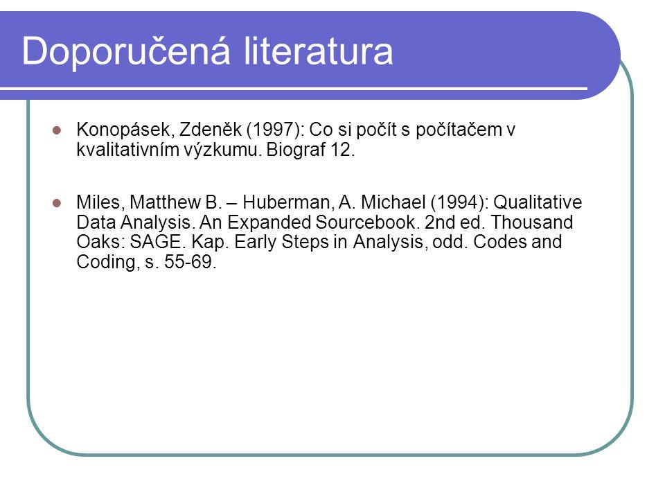 Doporučená literatura Konopásek, Zdeněk (1997): Co si počít s počítačem v kvalitativním výzkumu. Biograf 12. Miles, Matthew B. – Huberman, A. Michael