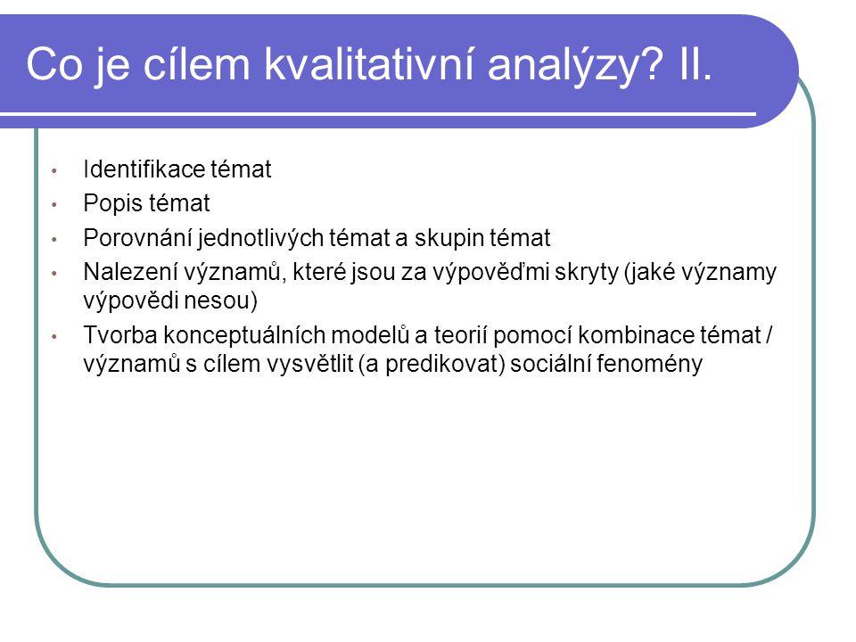 Co je cílem kvalitativní analýzy? II. Identifikace témat Popis témat Porovnání jednotlivých témat a skupin témat Nalezení významů, které jsou za výpov