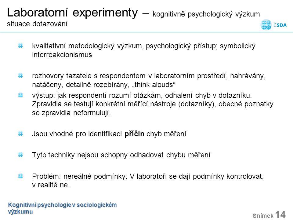 Laboratorní experimenty – kognitivně psychologický výzkum situace dotazování kvalitativní metodologický výzkum, psychologický přístup; symbolický inte