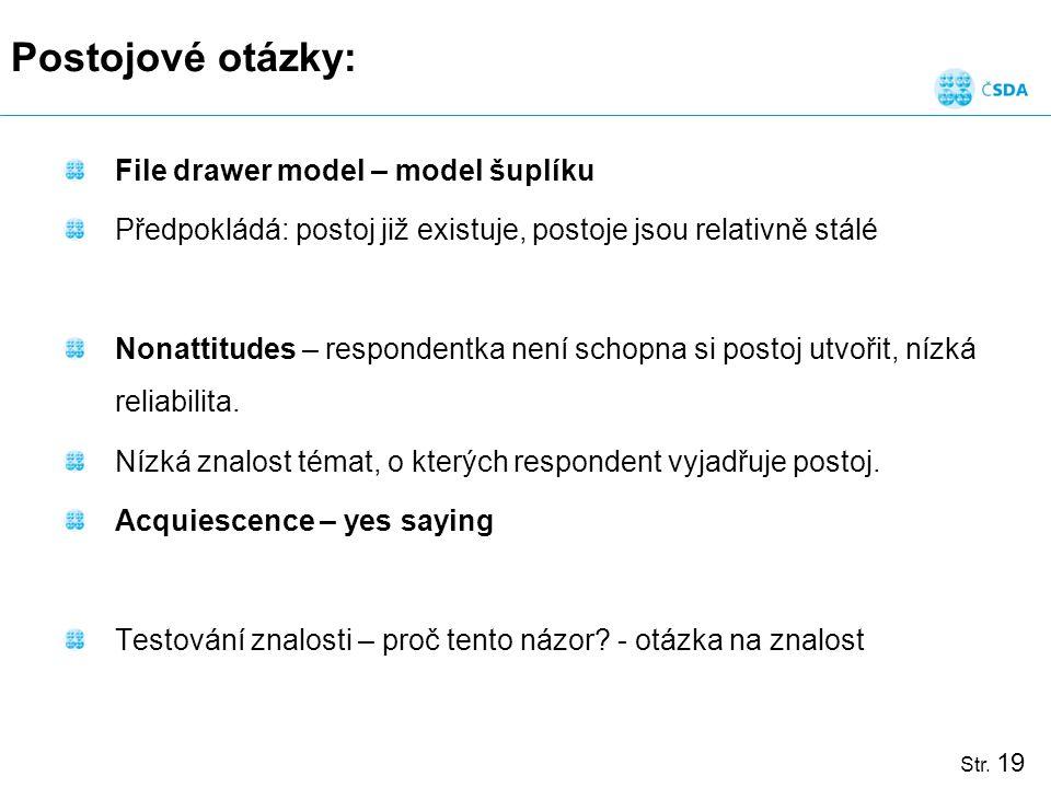 Str. 19 Postojové otázky: File drawer model – model šuplíku Předpokládá: postoj již existuje, postoje jsou relativně stálé Nonattitudes – respondentka