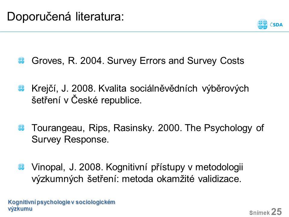 Doporučená literatura: Groves, R. 2004. Survey Errors and Survey Costs Krejčí, J. 2008. Kvalita sociálněvědních výběrových šetření v České republice.