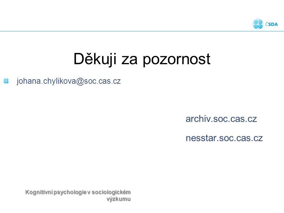 Kognitivní psychologie v sociologickém výzkumu Děkuji za pozornost johana.chylikova@soc.cas.cz archiv.soc.cas.cz nesstar.soc.cas.cz