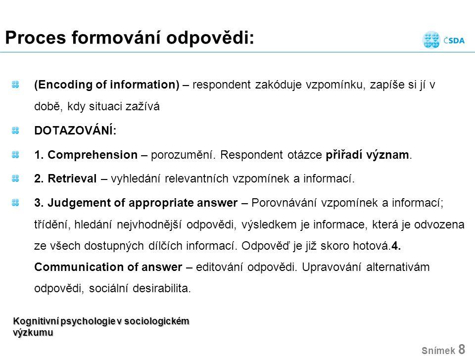 Kognitivní psychologie v sociologickém výzkumu Snímek 8 Proces formování odpovědi: (Encoding of information) – respondent zakóduje vzpomínku, zapíše s