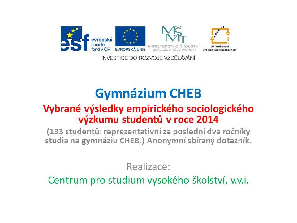 Gymnázium CHEB Vybrané výsledky empirického sociologického výzkumu studentů v roce 2014 (133 studentů: reprezentativní za poslední dva ročníky studia na gymnáziu CHEB.) Anonymní sbíraný dotazník.