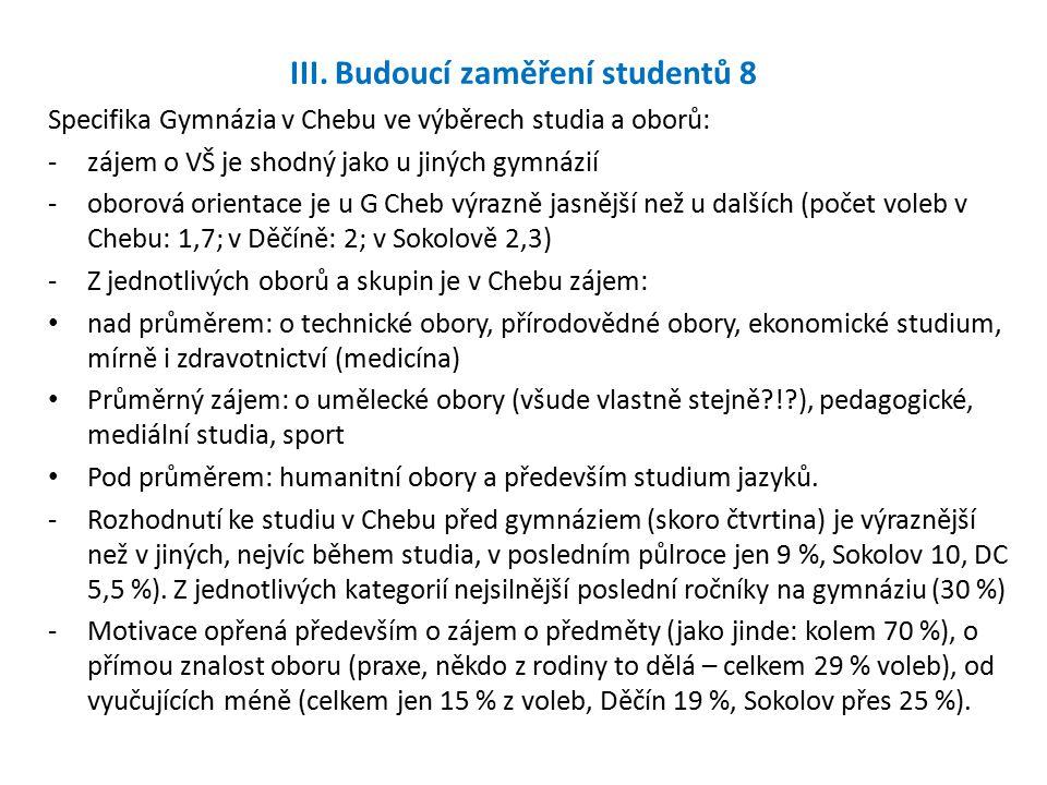 III. Budoucí zaměření studentů 8 Specifika Gymnázia v Chebu ve výběrech studia a oborů: -zájem o VŠ je shodný jako u jiných gymnázií -oborová orientac