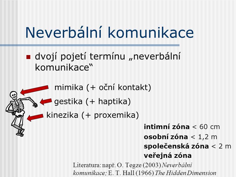 """Neverbální komunikace dvojí pojetí termínu """"neverbální komunikace intimní zóna < 60 cm osobní zóna < 1,2 m společenská zóna < 2 m veřejná zóna Literatura: např."""
