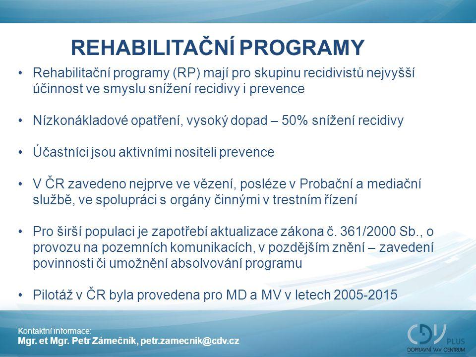 REHABILITAČNÍ PROGRAMY Rehabilitační programy (RP) mají pro skupinu recidivistů nejvyšší účinnost ve smyslu snížení recidivy i prevence Nízkonákladové
