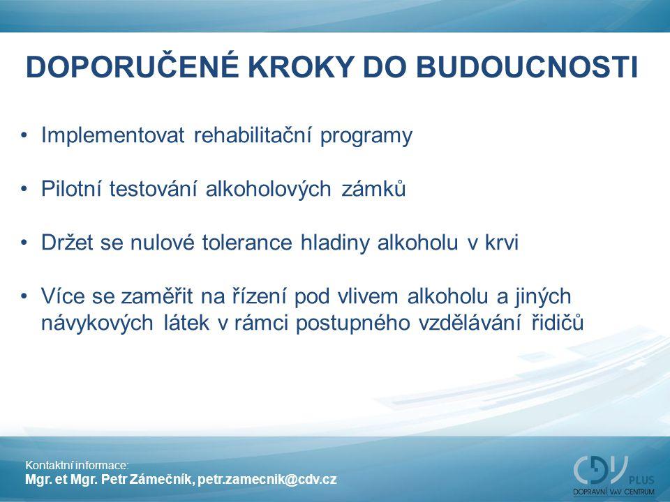 DOPORUČENÉ KROKY DO BUDOUCNOSTI Implementovat rehabilitační programy Pilotní testování alkoholových zámků Držet se nulové tolerance hladiny alkoholu v